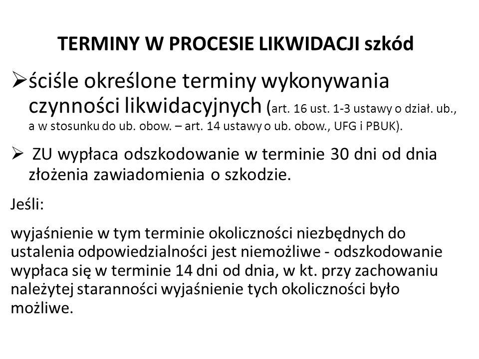 TERMINY W PROCESIE LIKWIDACJI szkód  ściśle określone terminy wykonywania czynności likwidacyjnych ( art. 16 ust. 1-3 ustawy o dział. ub., a w stosun