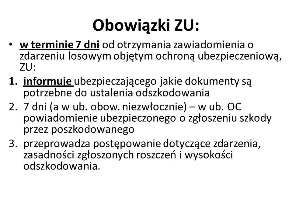 Obowiązki ZU: w terminie 7 dni od otrzymania zawiadomienia o zdarzeniu losowym objętym ochroną ubezpieczeniową, ZU: 1.informuje ubezpieczającego jakie