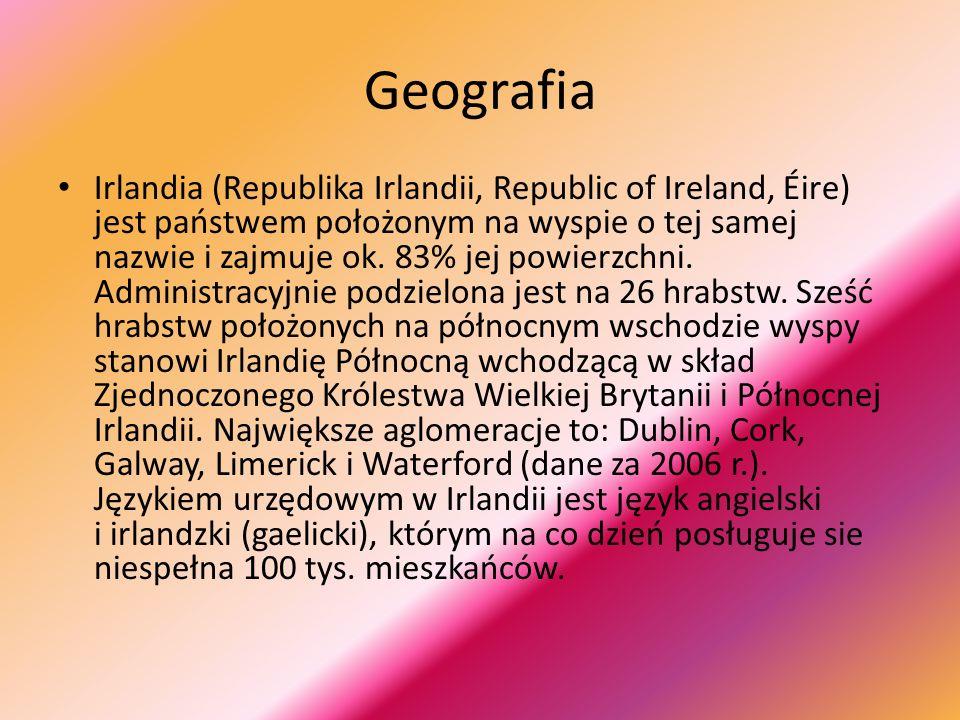 Geografia Irlandia (Republika Irlandii, Republic of Ireland, Éire) jest państwem położonym na wyspie o tej samej nazwie i zajmuje ok.