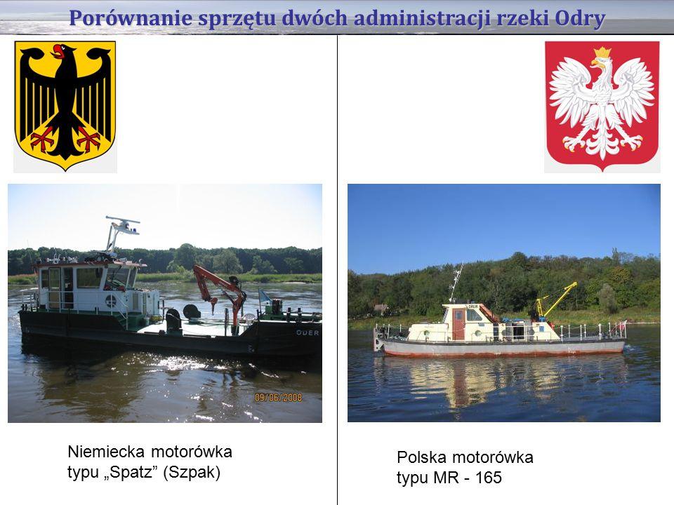 """Porównanie sprzętu dwóch administracji rzeki Odry Niemiecka motorówka typu """"Spatz (Szpak) Polska motorówka typu MR - 165"""