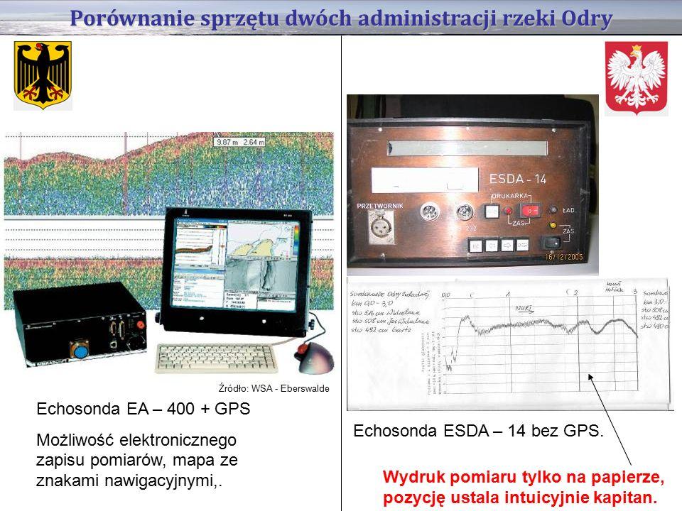 Porównanie sprzętu dwóch administracji rzeki Odry Echosonda EA – 400 + GPS Możliwość elektronicznego zapisu pomiarów, mapa ze znakami nawigacyjnymi,.