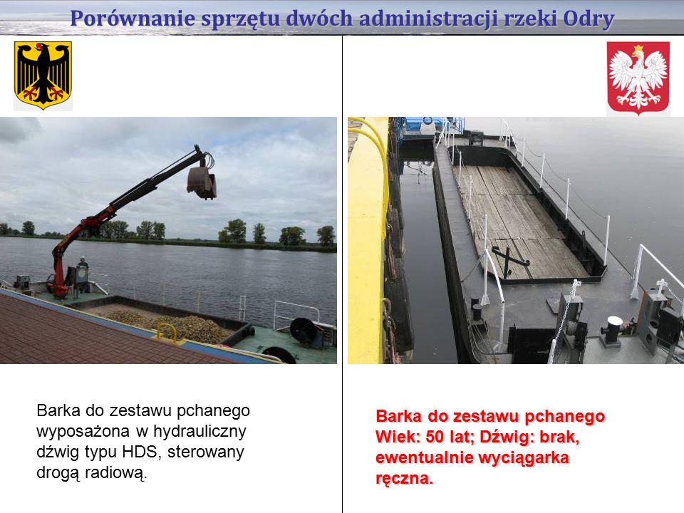 Porównanie sprzętu dwóch administracji rzeki Odry Barka do zestawu pchanego wyposażona w hydrauliczny dźwig typu HDS, sterowany drogą radiową.