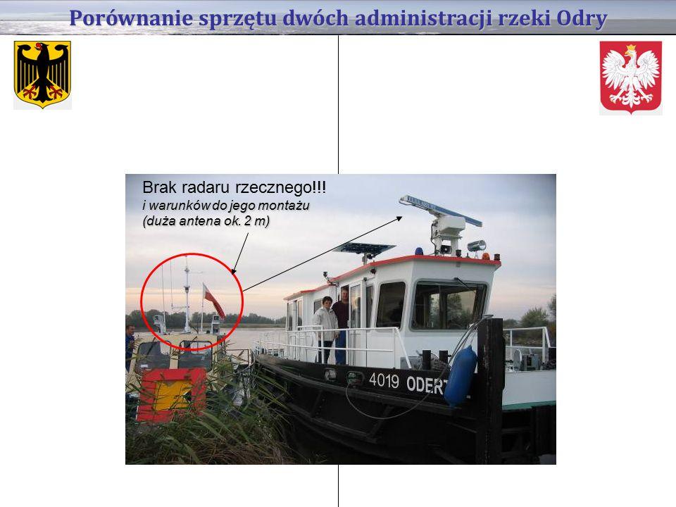 Porównanie sprzętu dwóch administracji rzeki Odry i warunków do jego montażu (duża antena ok.