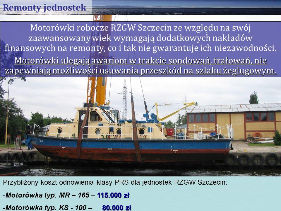 Motorówki robocze RZGW Szczecin ze względu na swój zaawansowany wiek wymagają dodatkowych nakładów finansowych na remonty, co i tak nie gwarantuje ich niezawodności.