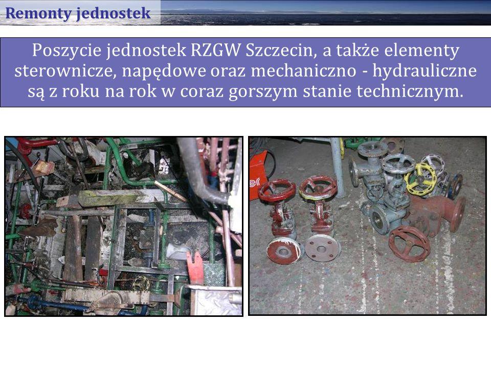 Poszycie jednostek RZGW Szczecin, a także elementy sterownicze, napędowe oraz mechaniczno - hydrauliczne są z roku na rok w coraz gorszym stanie technicznym.