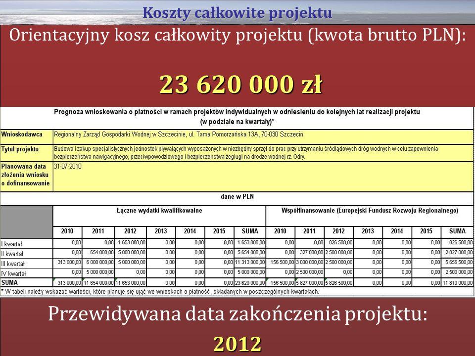 Orientacyjny kosz całkowity projektu (kwota brutto PLN): 23 620 000 zł Koszty całkowite projektu Przewidywana data zakończenia projektu:2012