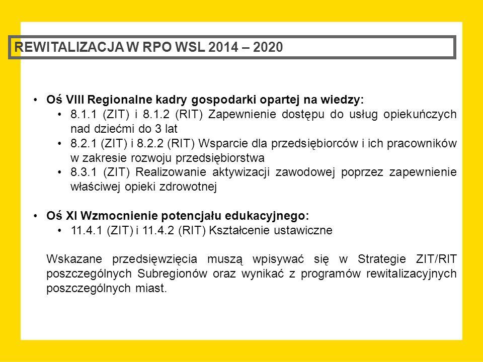 REWITALIZACJA W RPO WSL 2014 – 2020 Oś VIII Regionalne kadry gospodarki opartej na wiedzy: 8.1.1 (ZIT) i 8.1.2 (RIT) Zapewnienie dostępu do usług opiekuńczych nad dziećmi do 3 lat 8.2.1 (ZIT) i 8.2.2 (RIT) Wsparcie dla przedsiębiorców i ich pracowników w zakresie rozwoju przedsiębiorstwa 8.3.1 (ZIT) Realizowanie aktywizacji zawodowej poprzez zapewnienie właściwej opieki zdrowotnej Oś XI Wzmocnienie potencjału edukacyjnego: 11.4.1 (ZIT) i 11.4.2 (RIT) Kształcenie ustawiczne Wskazane przedsięwzięcia muszą wpisywać się w Strategie ZIT/RIT poszczególnych Subregionów oraz wynikać z programów rewitalizacyjnych poszczególnych miast.
