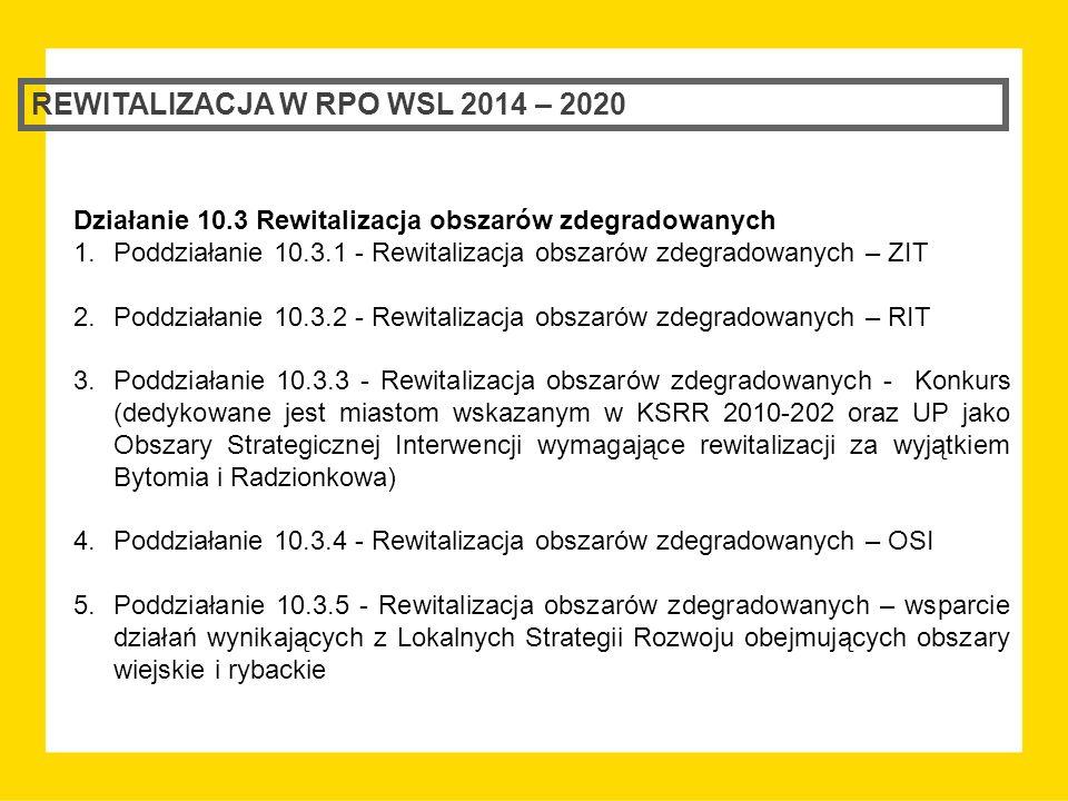 REWITALIZACJA W RPO WSL 2014 – 2020 Działanie 10.3 Rewitalizacja obszarów zdegradowanych 1.Poddziałanie 10.3.1 - Rewitalizacja obszarów zdegradowanych – ZIT 2.Poddziałanie 10.3.2 - Rewitalizacja obszarów zdegradowanych – RIT 3.Poddziałanie 10.3.3 - Rewitalizacja obszarów zdegradowanych - Konkurs (dedykowane jest miastom wskazanym w KSRR 2010-202 oraz UP jako Obszary Strategicznej Interwencji wymagające rewitalizacji za wyjątkiem Bytomia i Radzionkowa) 4.Poddziałanie 10.3.4 - Rewitalizacja obszarów zdegradowanych – OSI 5.Poddziałanie 10.3.5 - Rewitalizacja obszarów zdegradowanych – wsparcie działań wynikających z Lokalnych Strategii Rozwoju obejmujących obszary wiejskie i rybackie