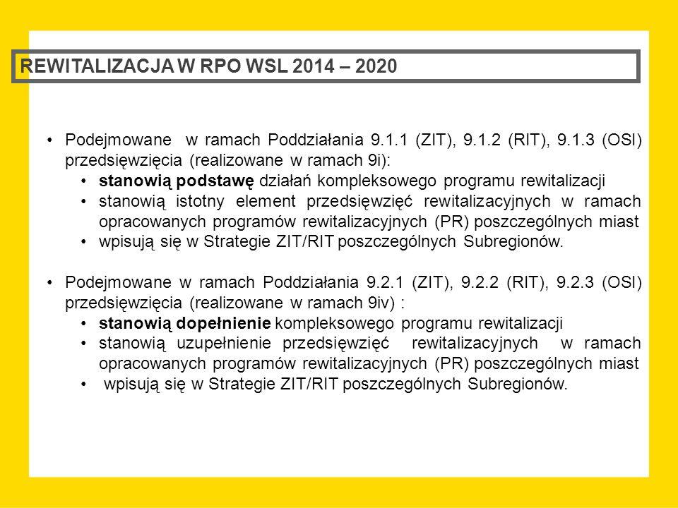 REWITALIZACJA W RPO WSL 2014 – 2020 Dopuszcza się możliwość realizacji przedsięwzięć w ramach Działania 9.2 nie wynikających bezpośrednio z opracowanych programów rewitalizacyjnych, jednak w takim przypadku obligatoryjne jest zachowanie komplementarności z interwencją podejmowaną ze środków EFRR, o ile taka jest realizowana.