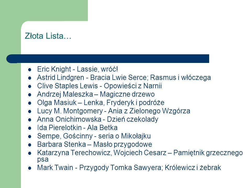 Złota Lista… Eric Knight - Lassie, wróć.