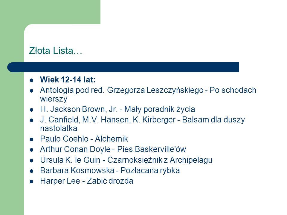 Złota Lista… Wiek 12-14 lat: Antologia pod red. Grzegorza Leszczyńskiego - Po schodach wierszy H.