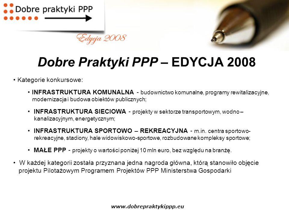 www.dobrepraktykippp.eu Dobre Praktyki PPP – EDYCJA 2008 Kategorie konkursowe: INFRASTRUKTURA KOMUNALNA - budownictwo komunalne, programy rewitalizacy