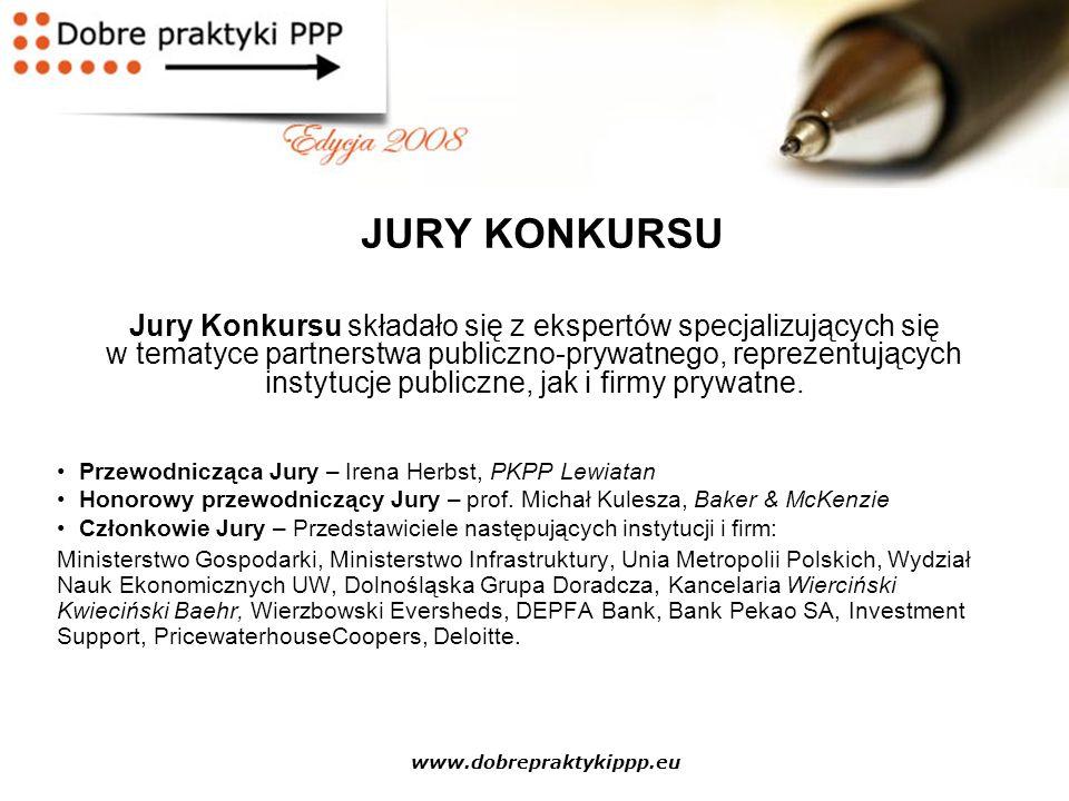 www.dobrepraktykippp.eu DOBRE PRAKTYKI PPP 2009 Cele Konkursu: Wsparcie projektów publiczno-prywatnych w różnych branżach poprzez wybór kolejnych projektów pilotażowych; Dalsza promocja Laureatów poprzednich edycji – m.in.