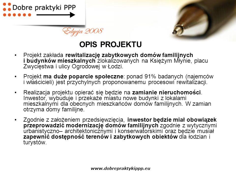 www.dobrepraktykippp.eu Projekt zakłada rewitalizację zabytkowych domów familijnych i budynków mieszkalnych zlokalizowanych na Księżym Młynie, placu Z
