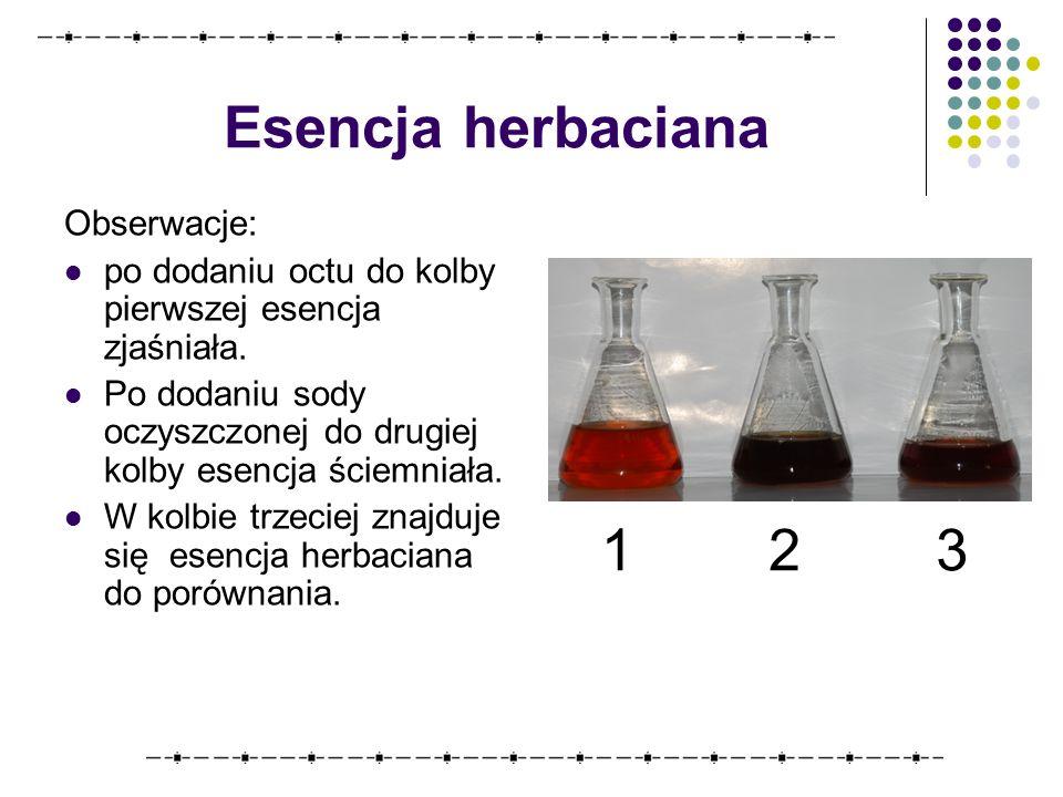 Esencja herbaciana Obserwacje: po dodaniu octu do kolby pierwszej esencja zjaśniała.