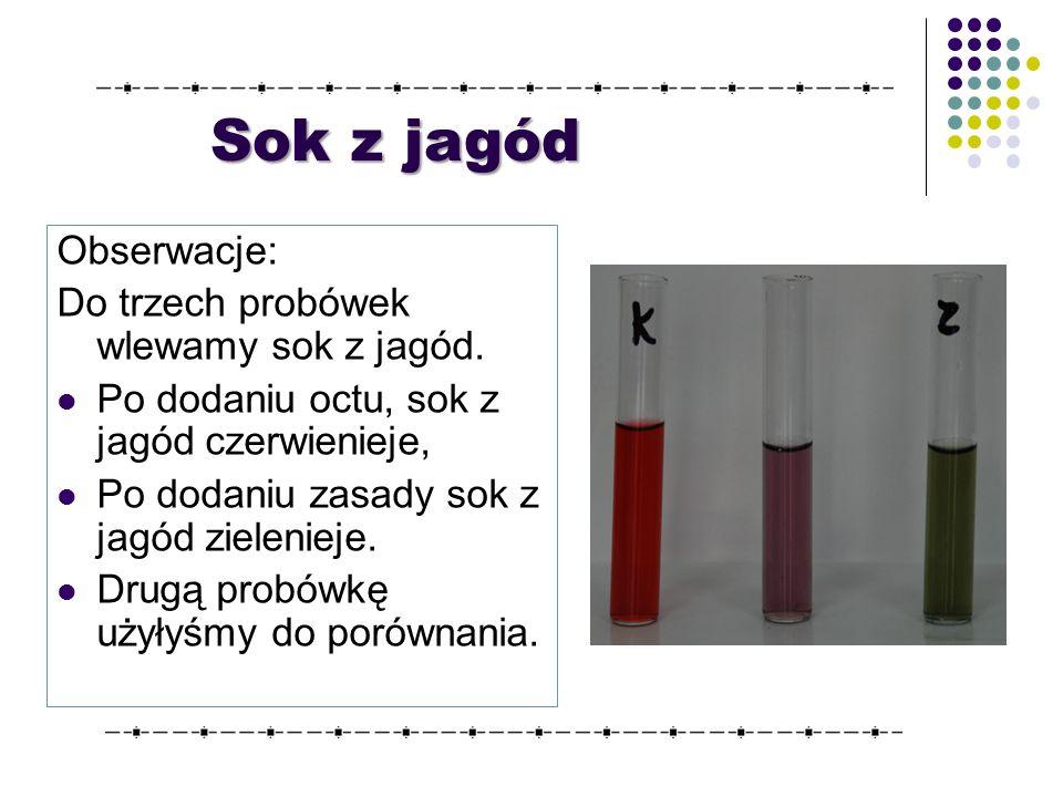 Obserwacje: Do trzech probówek wlewamy sok z jagód.
