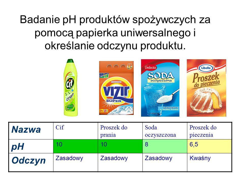 Nazwa CifProszek do prania Soda oczyszczona Proszek do pieczenia pH 10 86,5 Odczyn Zasadowy Kwaśny Badanie pH produktów spożywczych za pomocą papierka