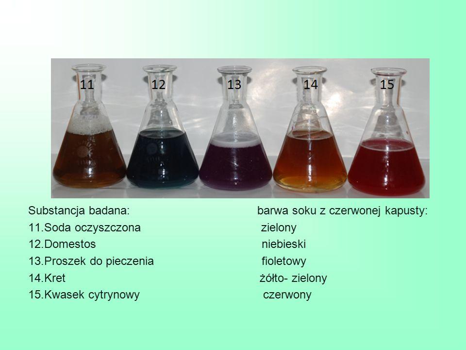 Substancja badana: barwa soku z czerwonej kapusty: 11.Soda oczyszczona zielony 12.Domestos niebieski 13.Proszek do pieczenia fioletowy 14.Kret żółto-