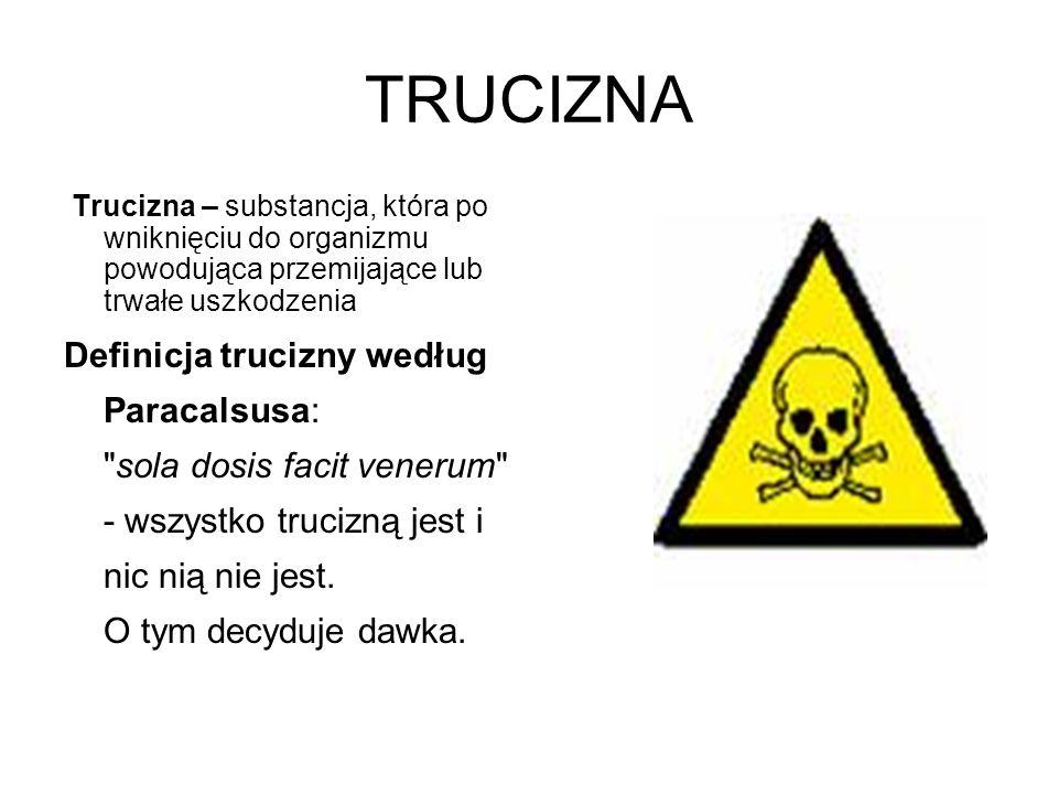 TRUCIZNA Trucizna – substancja, która po wniknięciu do organizmu powodująca przemijające lub trwałe uszkodzenia Definicja trucizny według Paracalsusa:
