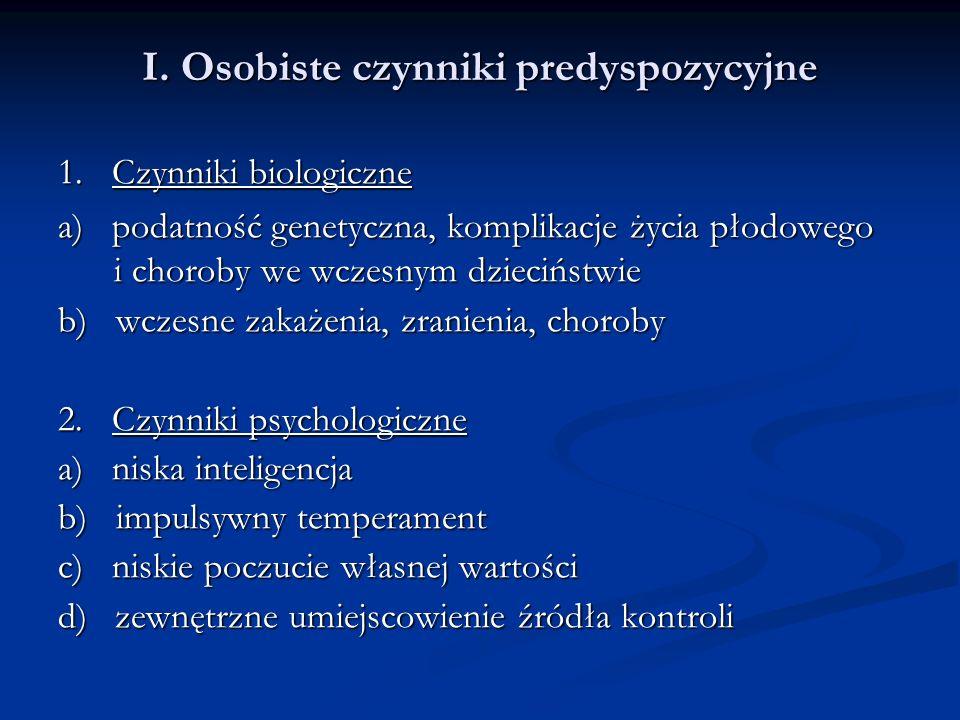I. Osobiste czynniki predyspozycyjne 1.