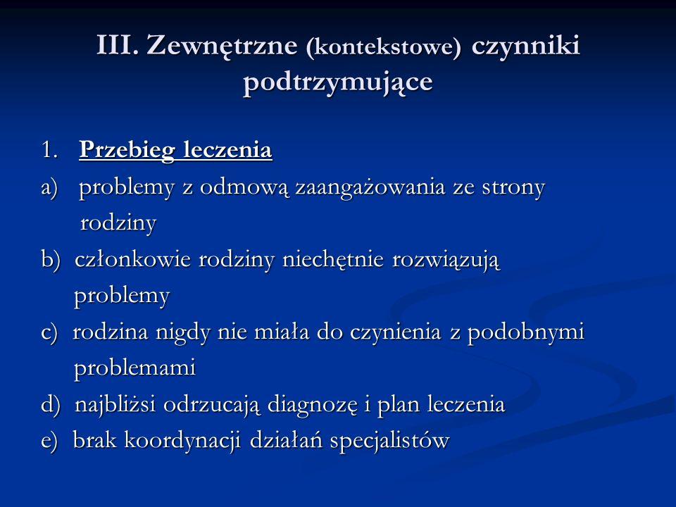 III. Zewnętrzne (kontekstowe) czynniki podtrzymujące 1.