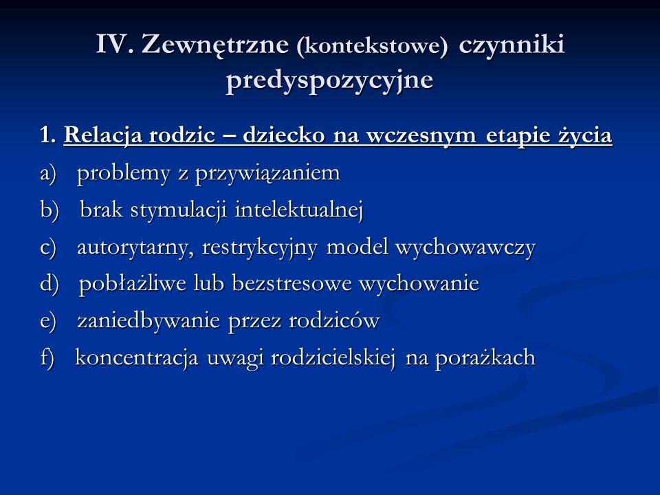IV. Zewnętrzne (kontekstowe) czynniki predyspozycyjne 1.