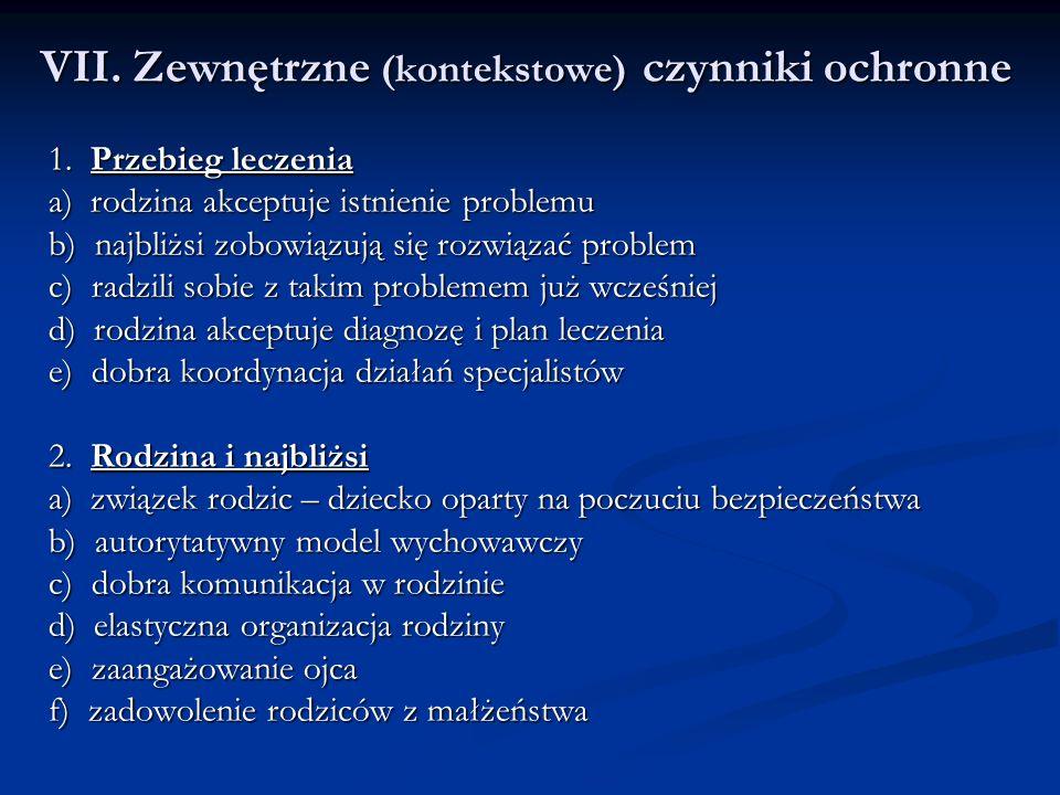 VII. Zewnętrzne (kontekstowe) czynniki ochronne 1.