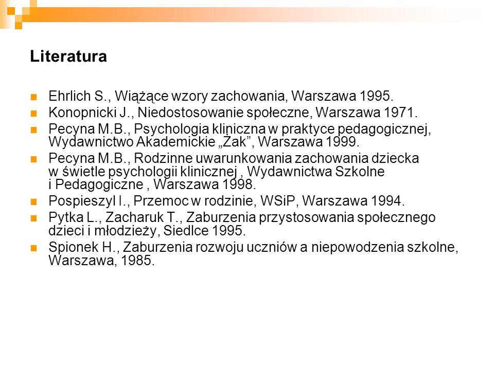 Literatura Ehrlich S., Wiążące wzory zachowania, Warszawa 1995.