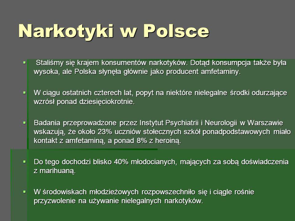 Narkotyki w Polsce  Staliśmy się krajem konsumentów narkotyków.