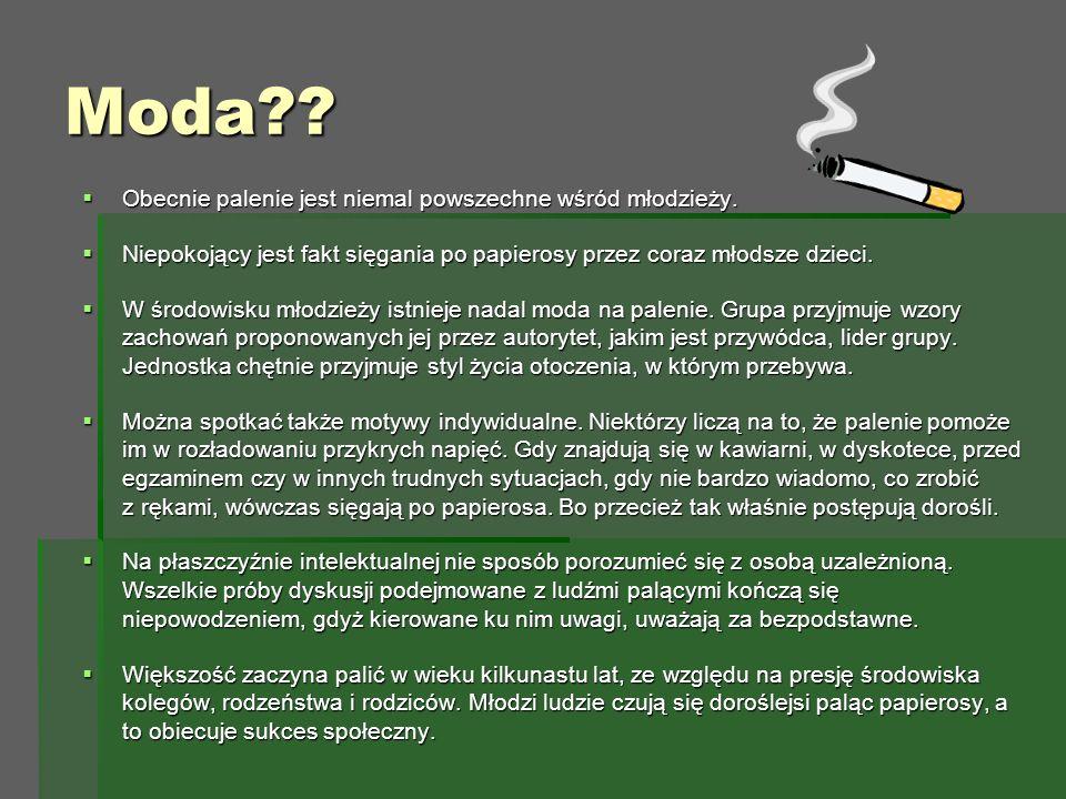 Moda .  Obecnie palenie jest niemal powszechne wśród młodzieży.