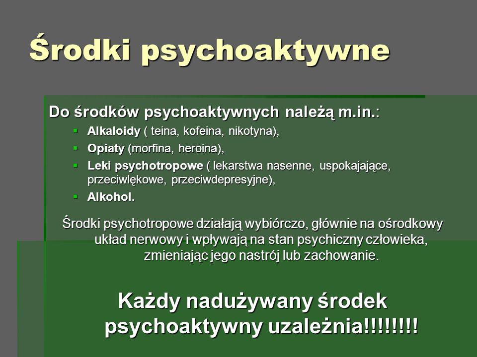 Środki psychoaktywne Do środków psychoaktywnych należą m.in.:  Alkaloidy ( teina, kofeina, nikotyna),  Opiaty (morfina, heroina),  Leki psychotropowe ( lekarstwa nasenne, uspokajające, przeciwlękowe, przeciwdepresyjne),  Alkohol.