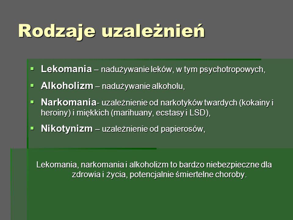 Rodzaje uzależnień  Lekomania – nadużywanie leków, w tym psychotropowych,  Alkoholizm – nadużywanie alkoholu,  Narkomania - uzależnienie od narkotyków twardych (kokainy i heroiny) i miękkich (marihuany, ecstasy i LSD),  Nikotynizm – uzależnienie od papierosów, Lekomania, narkomania i alkoholizm to bardzo niebezpieczne dla zdrowia i życia, potencjalnie śmiertelne choroby.