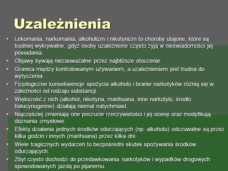 Uzależnienia  Lekomania, narkomania, alkoholizm i nikotynizm to choroby utajone, które są trudniej wykrywalne, gdyż osoby uzależnione często żyją w nieświadomości jej posiadania.
