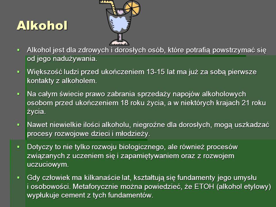 Alkohol  Alkohol jest dla zdrowych i dorosłych osób, które potrafią powstrzymać się od jego nadużywania.