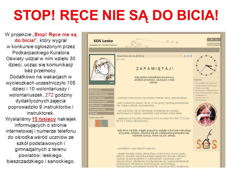 """W projekcie """"Stop! Ręce nie są do bicia!"""", który wygrał w konkursie ogłoszonym przez Podkarpackiego Kuratora Oświaty udział w nim wzięło 30 dzieci, uc"""