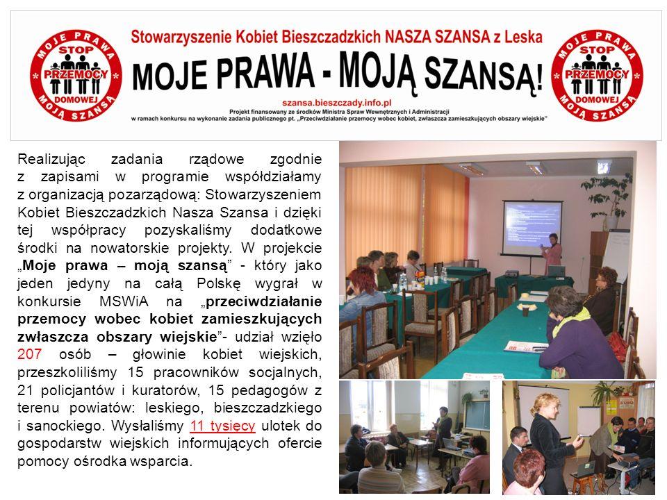 Realizując zadania rządowe zgodnie z zapisami w programie współdziałamy z organizacją pozarządową: Stowarzyszeniem Kobiet Bieszczadzkich Nasza Szansa i dzięki tej współpracy pozyskaliśmy dodatkowe środki na nowatorskie projekty.