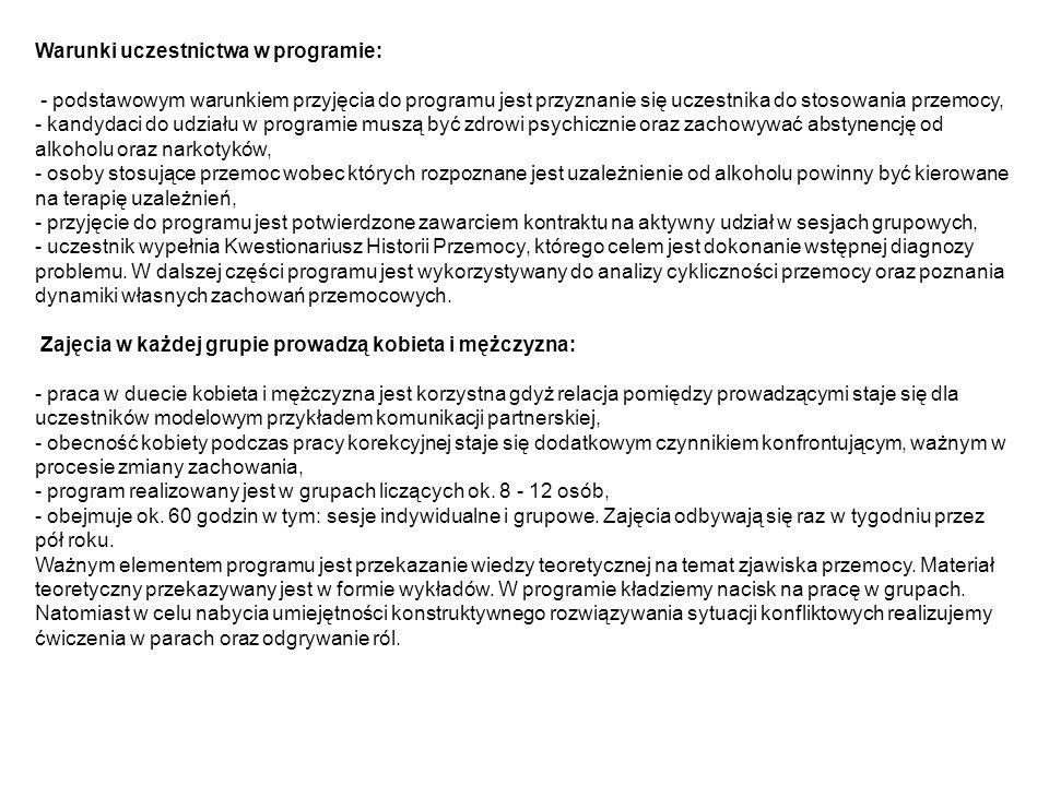 Warunki uczestnictwa w programie: - podstawowym warunkiem przyjęcia do programu jest przyznanie się uczestnika do stosowania przemocy, - kandydaci do