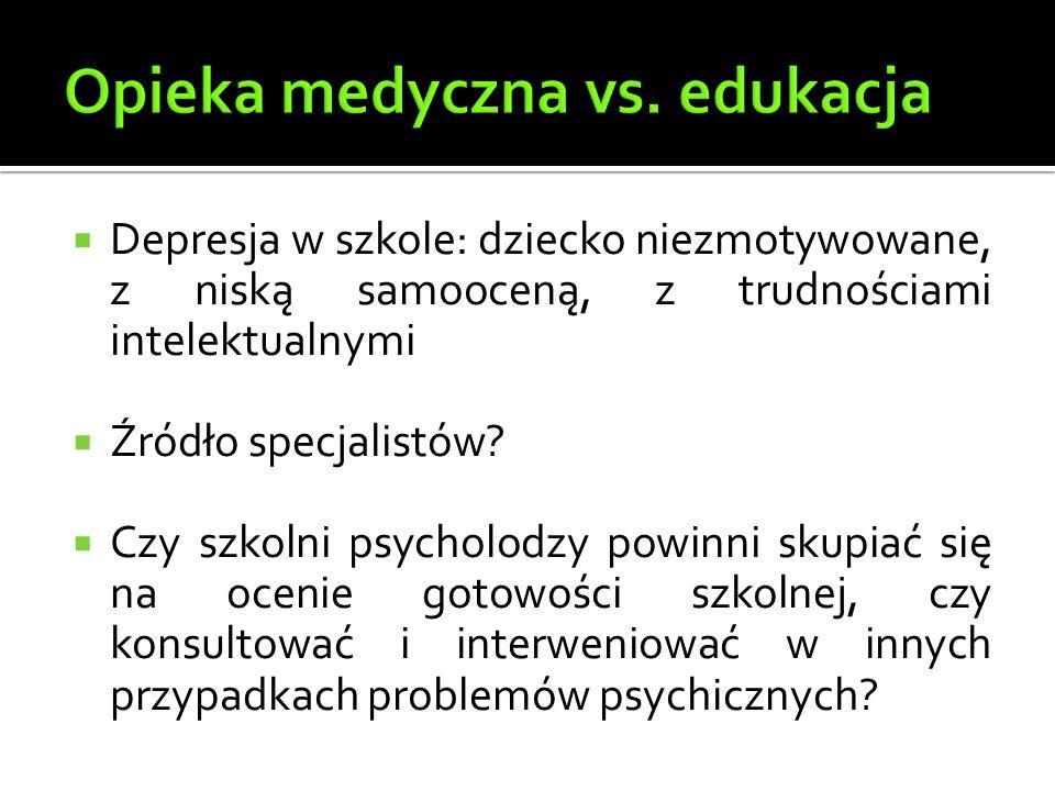 Depresja w szkole: dziecko niezmotywowane, z niską samooceną, z trudnościami intelektualnymi  Źródło specjalistów.