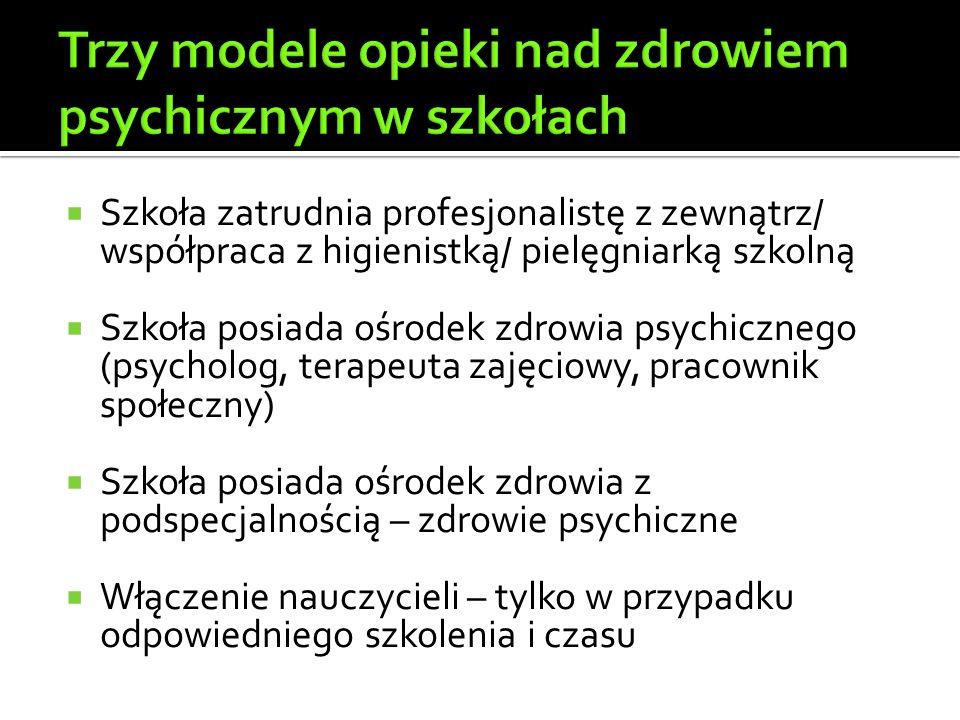  Szkoła zatrudnia profesjonalistę z zewnątrz/ współpraca z higienistką/ pielęgniarką szkolną  Szkoła posiada ośrodek zdrowia psychicznego (psycholog