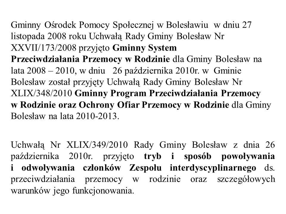 Gminny Ośrodek Pomocy Społecznej w Bolesławiu w dniu 27 listopada 2008 roku Uchwałą Rady Gminy Bolesław Nr XXVII/173/2008 przyjęto Gminny System Przeciwdziałania Przemocy w Rodzinie dla Gminy Bolesław na lata 2008 – 2010, w dniu 26 października 2010r.