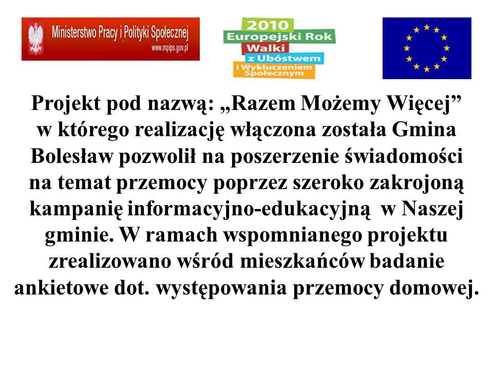 """Projekt pod nazwą: """"Razem Możemy Więcej w którego realizację włączona została Gmina Bolesław pozwolił na poszerzenie świadomości na temat przemocy poprzez szeroko zakrojoną kampanię informacyjno-edukacyjną w Naszej gminie."""