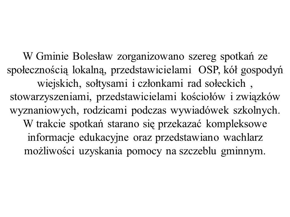 W Gminie Bolesław zorganizowano szereg spotkań ze społecznością lokalną, przedstawicielami OSP, kół gospodyń wiejskich, sołtysami i członkami rad sołeckich, stowarzyszeniami, przedstawicielami kościołów i związków wyznaniowych, rodzicami podczas wywiadówek szkolnych.