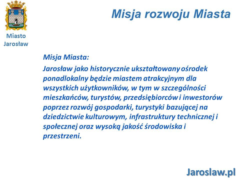 Miasto Jarosław Jaroslaw.pl Wizja rozwoju Miasta Jarosław to miasto o wysokim poziomie rozwoju gospodarczego łączącego lokalne specjalizacje i małą przedsiębiorczość z potencjałem dużych firm oraz o zrównoważonym rynku pracy i atrakcyjnych warunkach dla rozwoju przedsiębiorczości, otwarte na szanse pojawiające się w otoczeniu, oferujące ważne produkty i usługi dla odbiorców z regionu i kraju, zdolne do pozyskiwania wsparcia zewnętrznego dla realizacji strategicznych projektów rozwojowych oraz tworzące korzystne warunki dla napływu inwestycji i nowych mieszkańców, będące turystyczno-kulturowym sercem Podkarpacia, w którym świeckie i sakralne zabytki kultury materialnej stanowią świadectwo wielowiekowej tradycji, a aktywność kulturalna, wysoka estetyka miasta i poziom bezpieczeństwa publicznego tworzą unikatową, kameralną i przyjazną atmosferę dla mieszkańców i odwiedzających, w którym władze lokalne podejmują działania na rzecz poszerzania przestrzeni dla rozwoju indywidualnego mieszkańców zapewniając wysoki poziom usług publicznych oraz infrastruktury technicznej i społecznej, w którym zmiany będące wynikiem działalności społecznej stają się impulsem dla rozwijania nowych funkcji gospodarczych, prężnie działają organizacje pozarządowe, a mieszkańcy podejmują działania na rzecz rozwoju kultury, edukacji, sportu i rekreacji, o wysokim poziomie estetyki przestrzeni i ładzie architektonicznym w poszanowaniu walorów przyrodniczych i środowiska naturalnego.