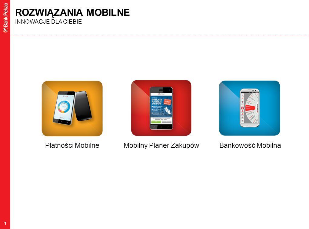 1 ROZWIĄZANIA MOBILNE INNOWACJE DLA CIEBIE Płatności MobilneMobilny Planer ZakupówBankowość Mobilna