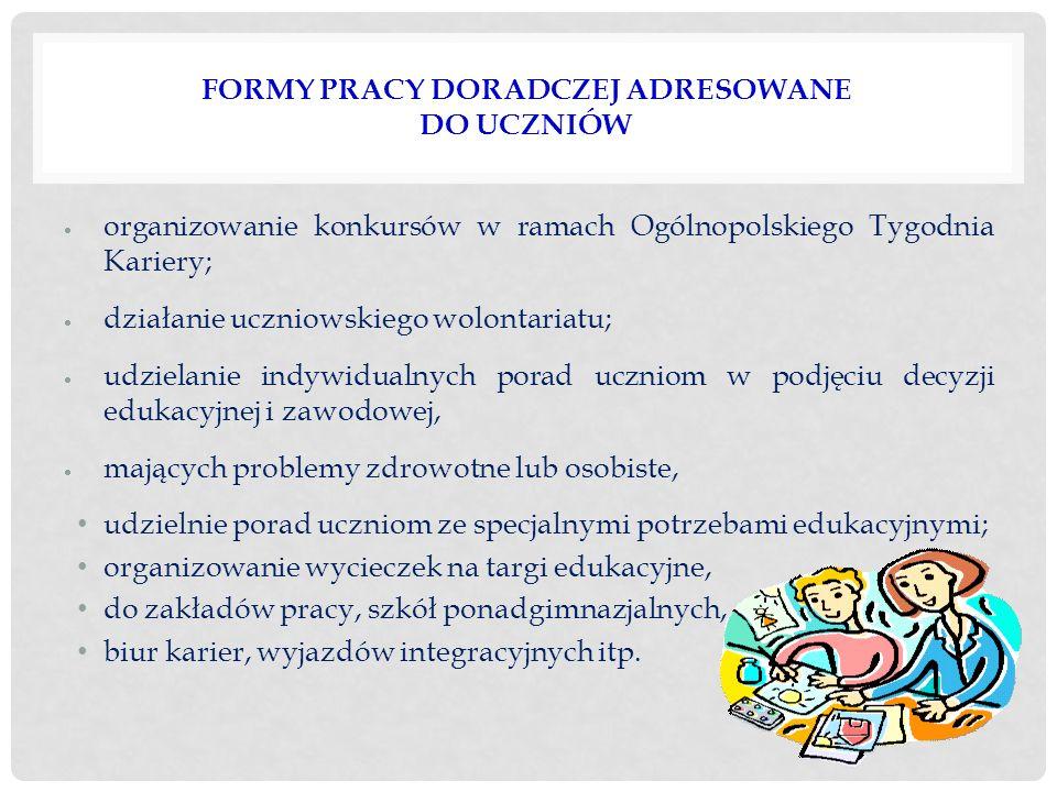 FORMY PRACY DORADCZEJ ADRESOWANE DO UCZNIÓW  organizowanie konkursów w ramach Ogólnopolskiego Tygodnia Kariery;  działanie uczniowskiego wolontariat
