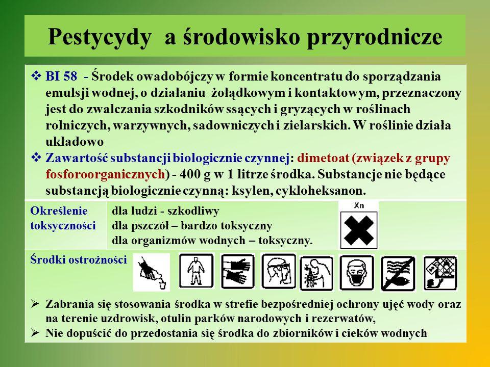 Pestycydy a środowisko przyrodnicze  BI 58 - Środek owadobójczy w formie koncentratu do sporządzania emulsji wodnej, o działaniu żołądkowym i kontakt