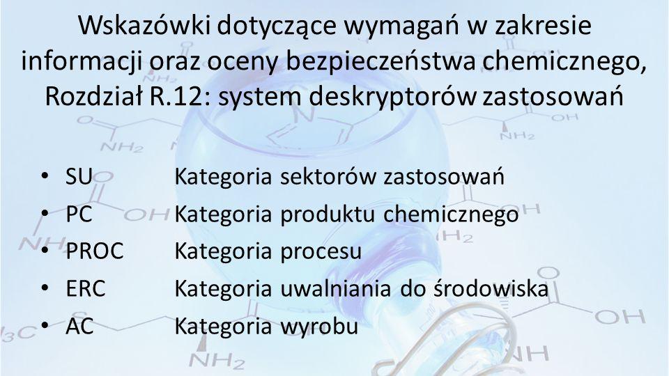 Wskazówki dotyczące wymagań w zakresie informacji oraz oceny bezpieczeństwa chemicznego, Rozdział R.12: system deskryptorów zastosowań SU Kategoria sektorów zastosowań PC Kategoria produktu chemicznego PROC Kategoria procesu ERC Kategoria uwalniania do środowiska AC Kategoria wyrobu