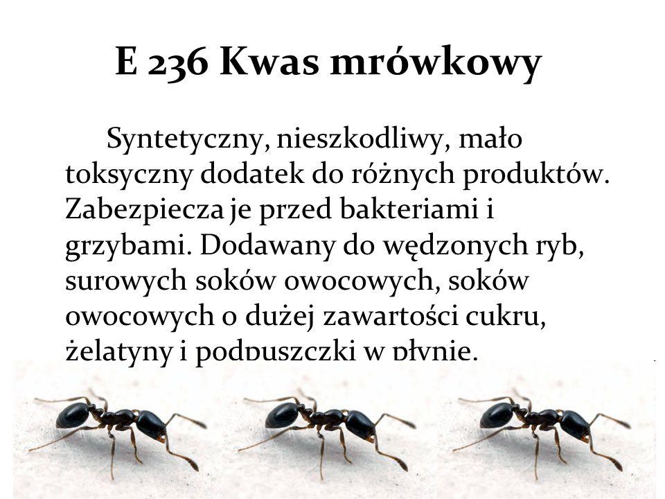 E 236 Kwas mrówkowy Syntetyczny, nieszkodliwy, mało toksyczny dodatek do różnych produktów.