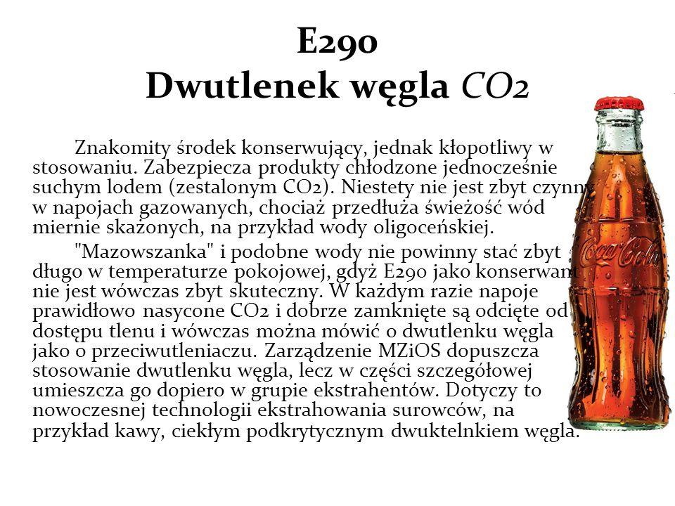 E290 Dwutlenek węgla CO2 Znakomity środek konserwujący, jednak kłopotliwy w stosowaniu.