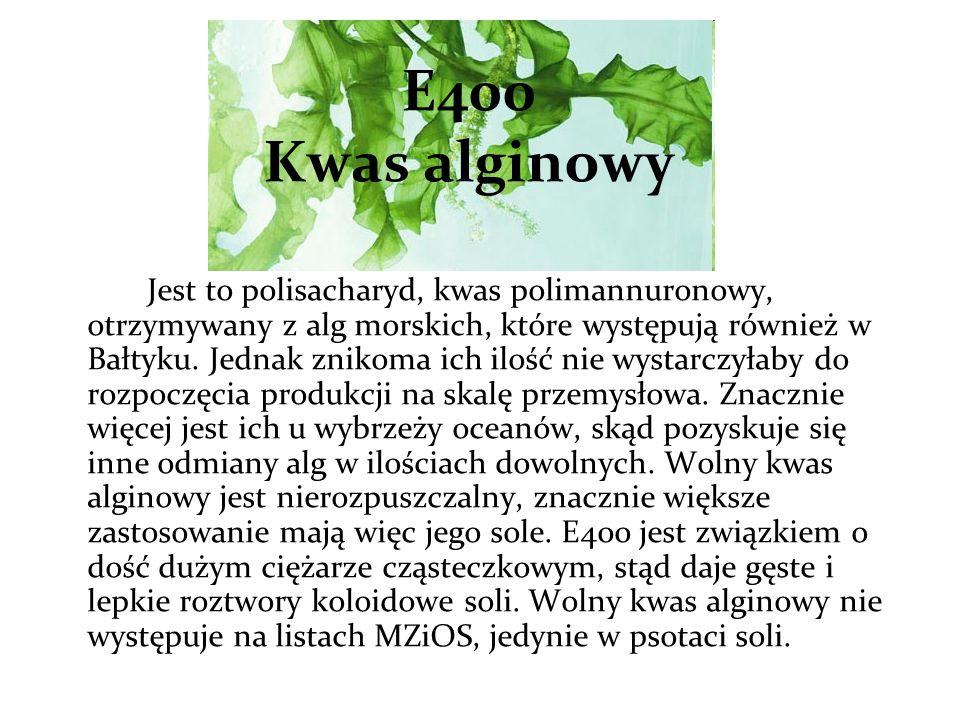 E400 Kwas alginowy Jest to polisacharyd, kwas polimannuronowy, otrzymywany z alg morskich, które występują również w Bałtyku.